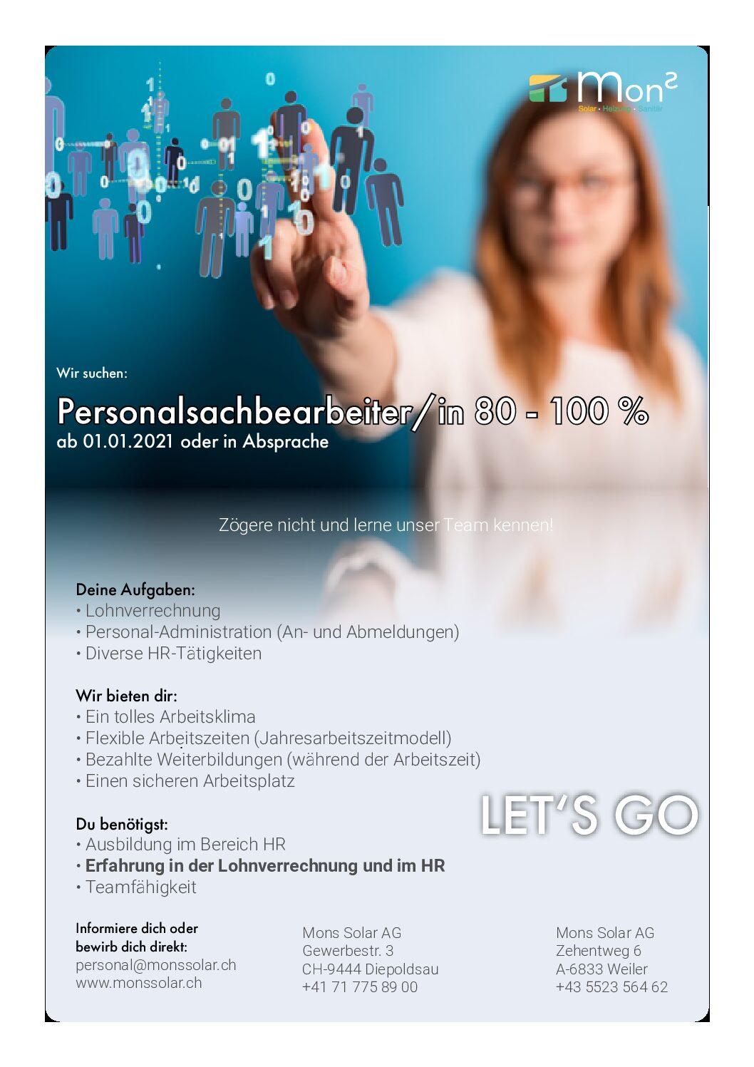HR Personalsachbearbeiterin 80-100%