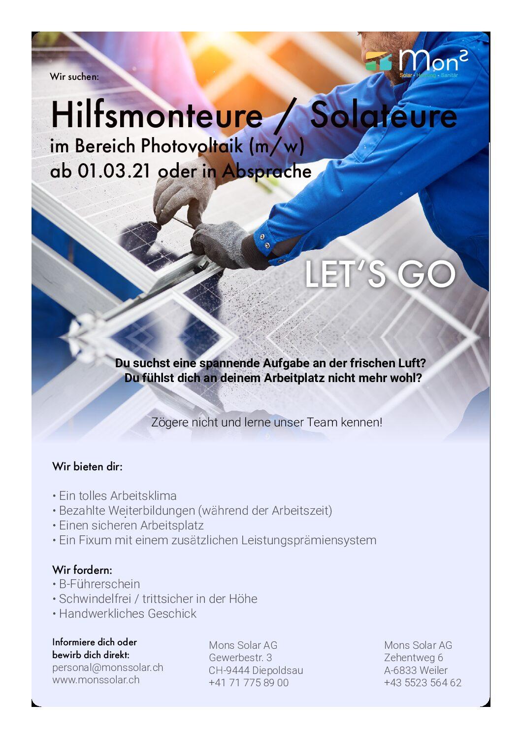 Hilfsmonteur Photovoltaik ab 1.3.21