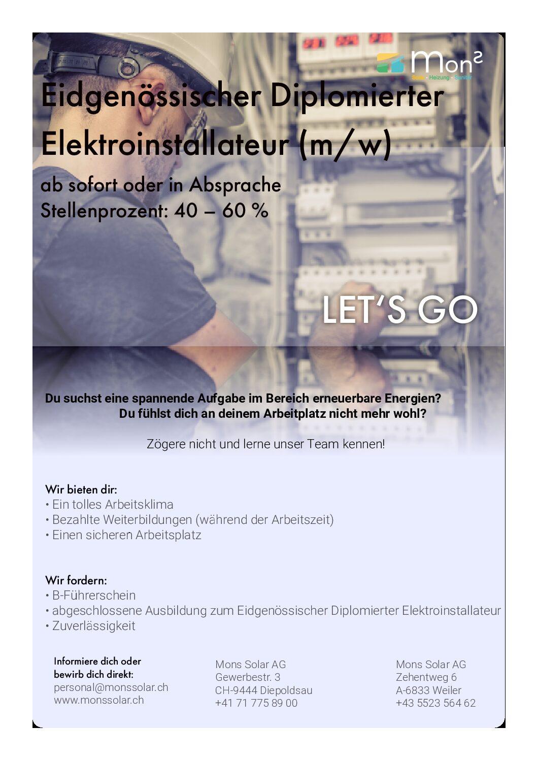 Eidgenössischer Diplomierter Elektro Inserat